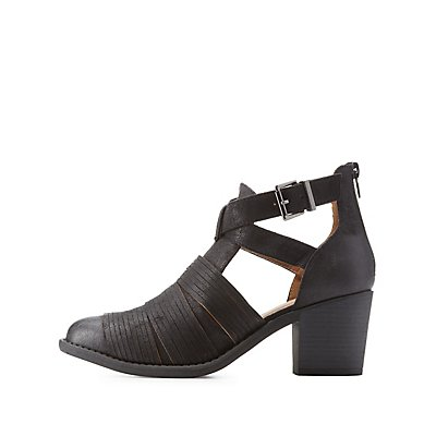 Stacked-Strap Belted Ankle