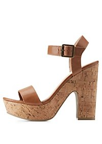 Two Piece Cork Heel Sandals
