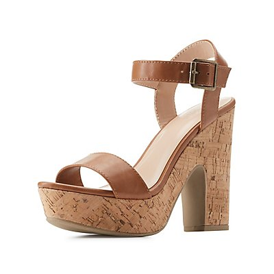 Two-Piece Cork Heel Sandals