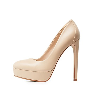Almond Toe Platform Pumps