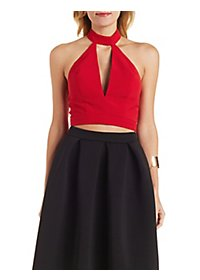 Mock Neck Plunge Crop Top