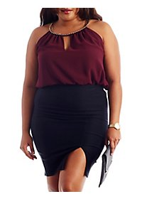 Plus Size Chain Collar Keyhole Top