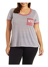 Plus Size Graphic Ringer Tee with Pocket
