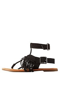 Fringed T-Strap Buckle Sandals
