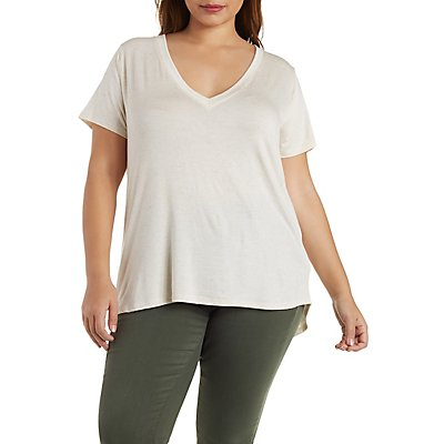 Plus Size V-Neck Knit Boyfriend Tee