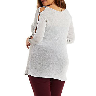 Plus Size Cold Shoulder Button Sleeve Top