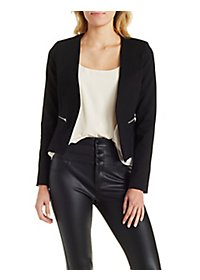 Cropped Blazer with Zipper Details