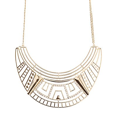 Rhinestone-Studded Geometric Bib Necklace