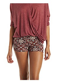 Medallion Print Stretchy Knit Shorts