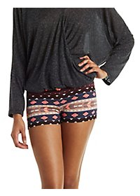 Aztec Print Stretchy Knit Shorts