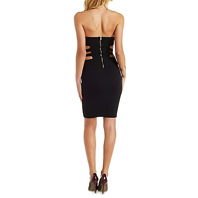 Caged Cut-Out Strapless Bodycon Dress