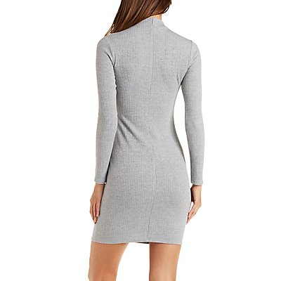Ribbed Mock Neck Bodycon Dress