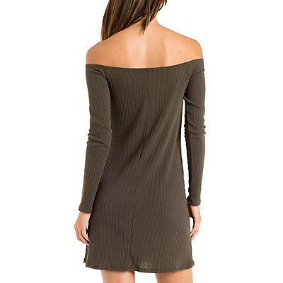 Off-the-Shoulder Ribbed Bodycon Dress