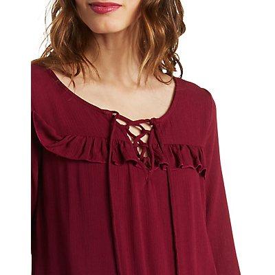 Ruffled Tie Front Peasant Dress