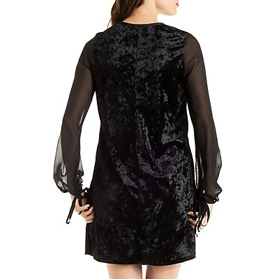 Plunging Velvet Shift Dress with Chiffon Sleeves