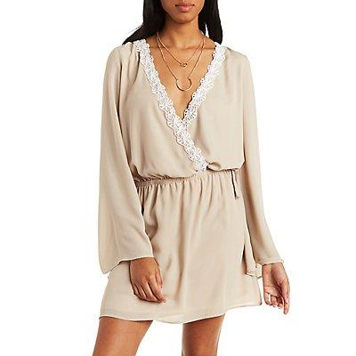 Lace-Trim Surplice Dress