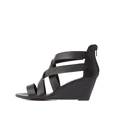 Crisscross Strap Wedge Sandals