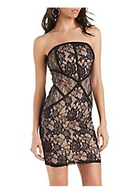Lace Strapless Bodycon Dress