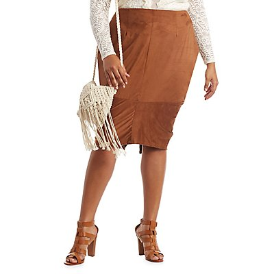 Plus Size Faux Suede Pencil Skirt | Charlotte Russe