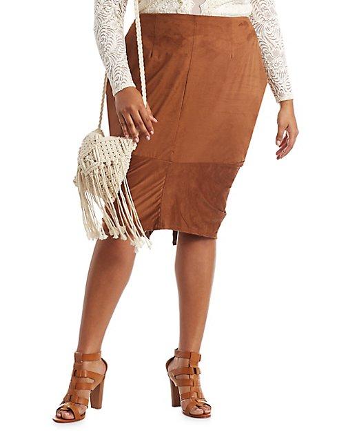 Plus Size Faux Suede Pencil Skirt | Charlotte Russe