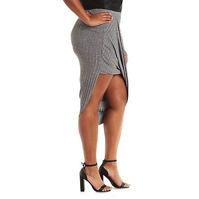 Plus Size Ribbed & Marled Asymmetrical Skirt