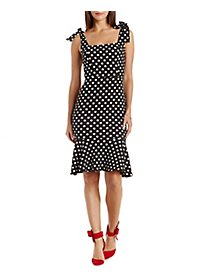 Shoulder-Tie Polka Dot Trumpet Dress