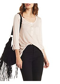 Slouchy Pocket Henley Top