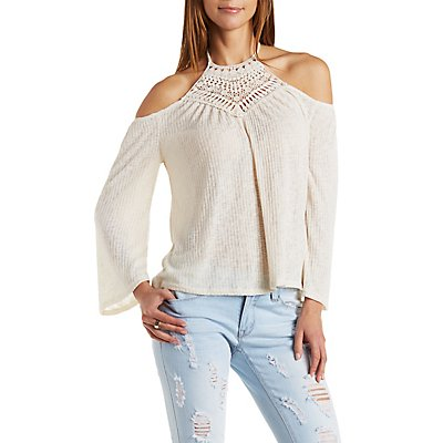 Crochet Bib Cold Shoulder Top
