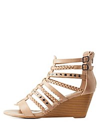 Strappy Studded Wedge Sandals