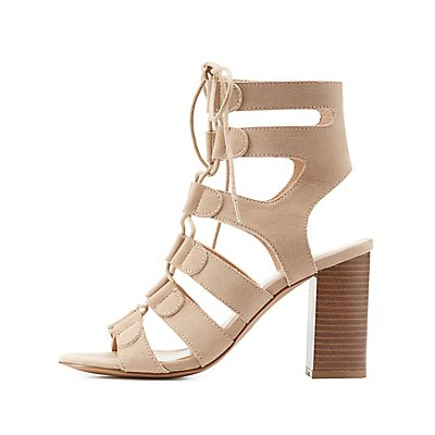 Lace-Up Caged Chunky Sandals