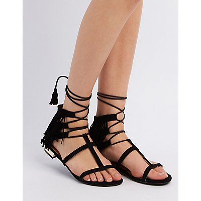 Caged Fringe Lace-Up Sandals