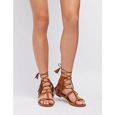 Caged Fringe Lace-Up Sandals