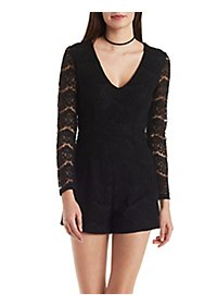Plunging Long Sleeve Lace Romper