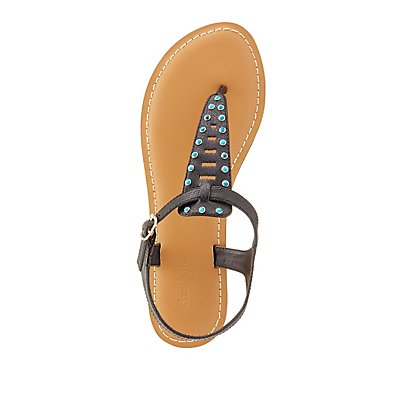 Stone-Studded Thong Sandals
