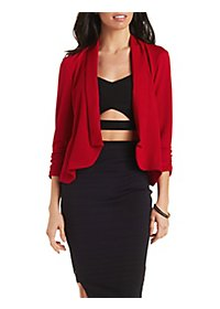 Ruched Sleeve Textured Blazer