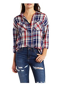 Drop Shoulder Plaid Shirt