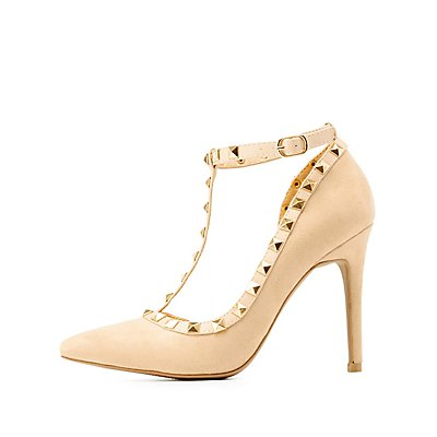 Studded T-Strap Pointed Toe Heels