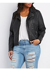 Plus Size Zipper Pocket Moto Jacket