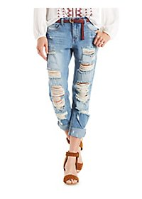 Cello Distressed Slim Straight Jeans