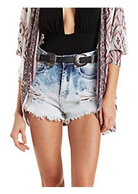 Machine Jeans Acid Wash Cut-Off Shorts