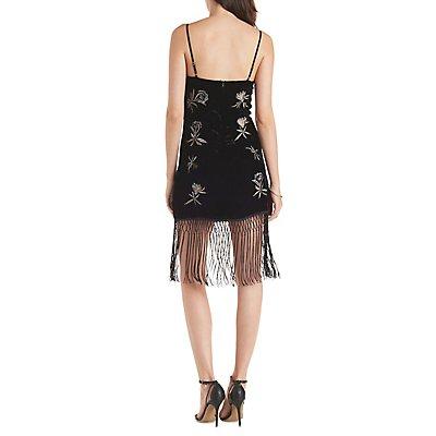 Fringed Velvet Shift Dress