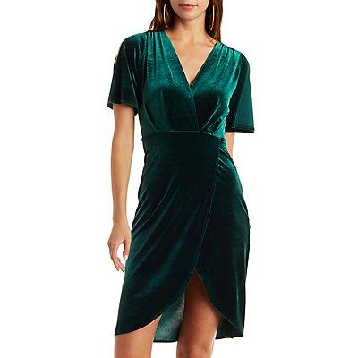 Velvet Wrapped Surplice Dress