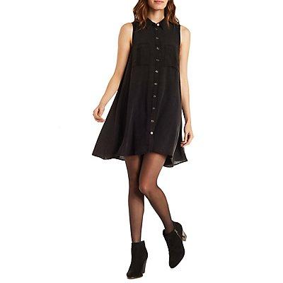 Collared Button-Up Shirt Dress