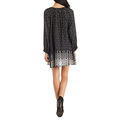 En Creme Border Print Boho Dress