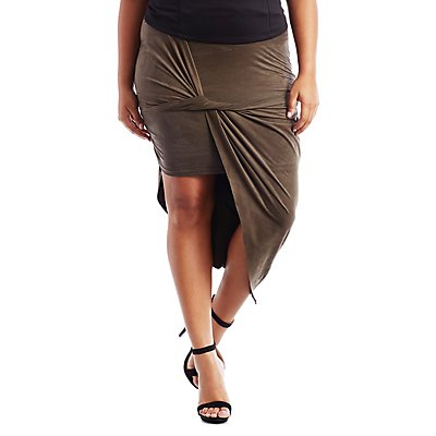 Plus Size Asymmetrical Draped Faux Suede Skirt
