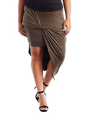 Plus Size Asymmetrical Draped Faux Suede Skirt