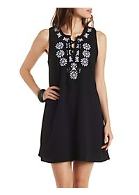 Embroidered Lace-Up Shift Dress
