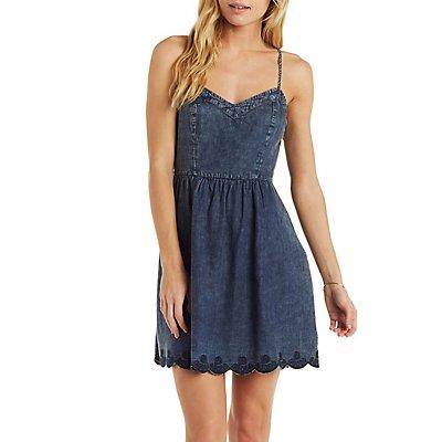 En Creme Scalloped Denim Skater Dress