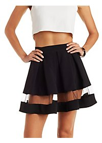 Scuba Knit Mesh Stripe Skater Skirt
