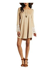 Faux Suede Crochet-Trim Shift Dress